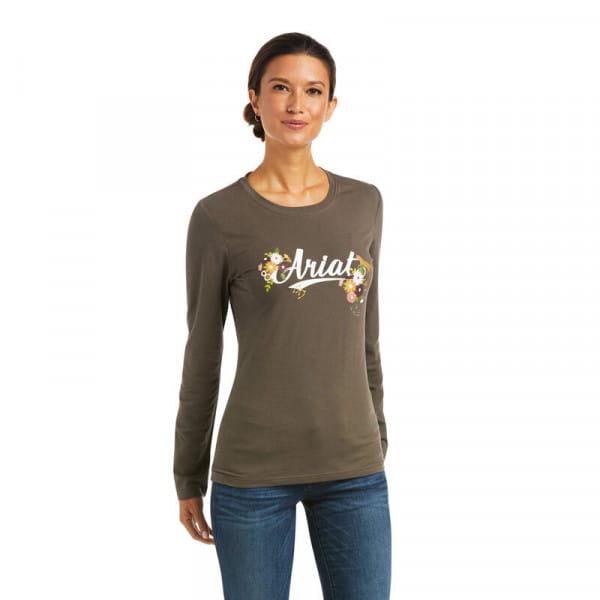 Ariat Womens Flora Fauna Logo T-Shirt banyan bark