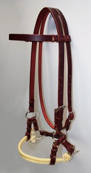 Side Pull Latigo Leather Double Rope Noseband