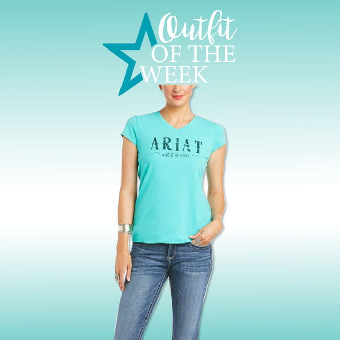 Ariat Womens Real Logo T-Shirt waterfall