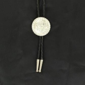 Bolo Tie Sterling Silver Round with Rope Edge