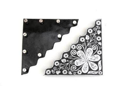 Gravierte Black Silberecken für Blankets (Paar)