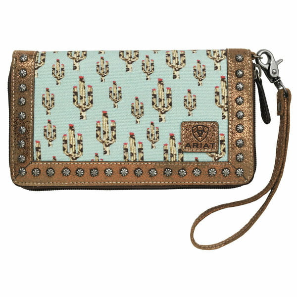 Ariat Western Wallet Womens Cacti Clutch Wristlet Turquoise